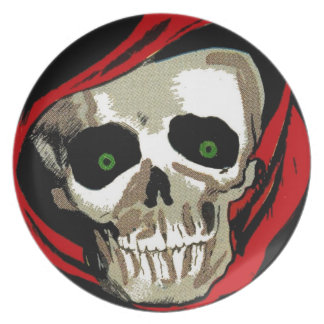 Skull Skeleton Head Scary Halloween Decoration Party Plate