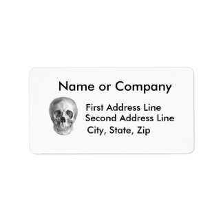 Skull Sketch perfect for Halloween party needs! Address Label