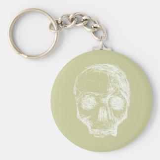 Skull Sketch. White. Keychains