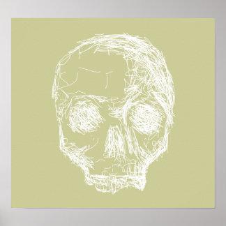 Skull Sketch. White. Poster