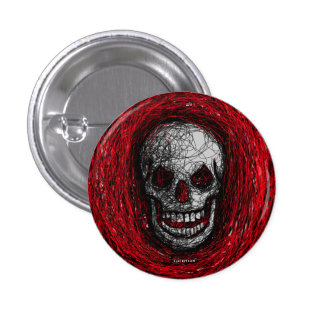 Skull Smile Button Red Scratch