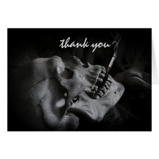 Skull Smoking a Cigarette Thank You Card