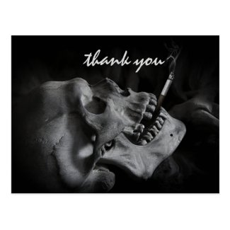 Skull Smoking a Cigarette Thank You Postcard