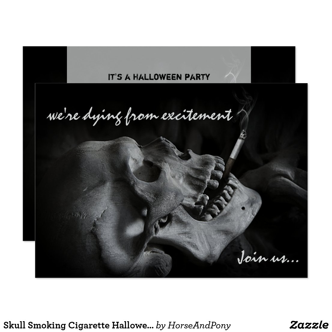 Skull Smoking Cigarette Halloween Party Invitation