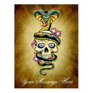 Skull Snake Cherry Blossoms Design Postcard