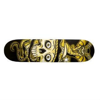 Skull Snake Cherry Blossoms Design Skate Board
