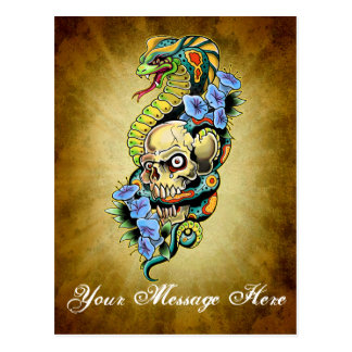 Skull Snake Lillies Design Postcard