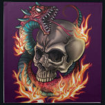 "Skull   Snake Napkin<br><div class=""desc"">An original tattoo inspired art style illustration of a flaming skull with snake wrapped around it. This unique design was made specifically for Zazzle, featuring professional digital artwork and can be fully customized to add additional photos and text to suit. It would be ideal for tattoo admirers, comic book fans,...</div>"