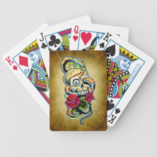 Skull Snake Roses Design Bicycle Playing Cards