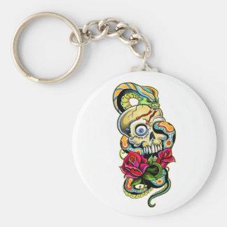 Skull Snake Roses Design Keychain