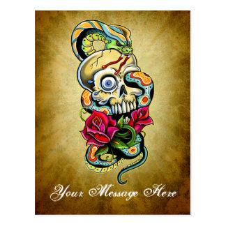 Skull Snake Roses Design Postcard