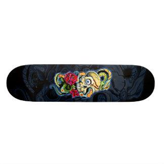 Skull Snake Roses Design Skateboard