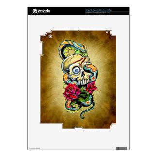 Skull Snake Roses Design iPad 2 Decals