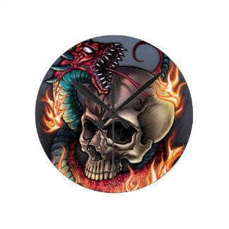 Skull + Snake Round Clock