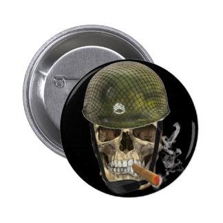 Skull soldier pinback button