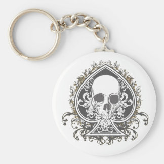 Skull Spade with gold Keychain