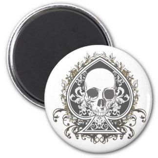 Skull Spade with gold Fridge Magnets