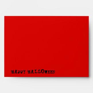Skull Spectres B&W red 'Happy Halloween' envelope
