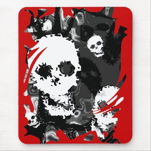 Skull Spectres B&W swirl mousepad (red background)