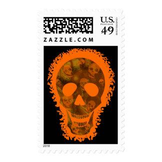 Skull Spectres big skull orange postage stamp