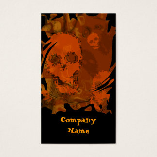 Skull Spectres Orange business card black vertical