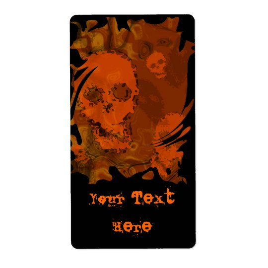 Skull Spectres Orange swirl 'Your Text' label