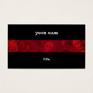 Skull Spectres Red stripe horizontal black back Business Card