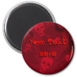Skull Spectres Red 'Your Text' fridge magnet