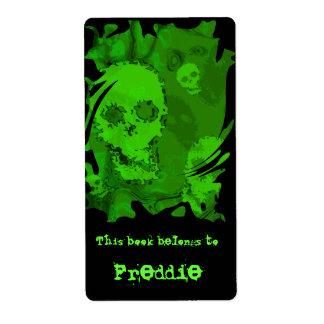 Skull Spectres swirl bookplate label