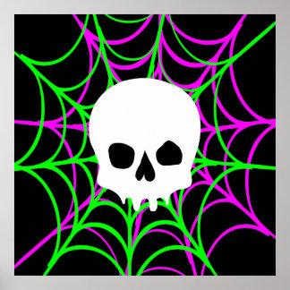 Skull & Spiderwebs (Black Pink Green) Poster