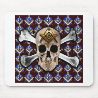 Skull Square & Compass Dark Red Mousepads