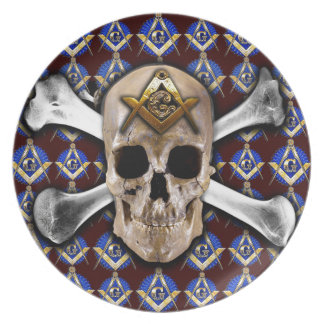 Skull Square Compass Dark Red Plates