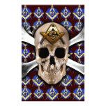 Skull Square & Compass Dark Red Stationery
