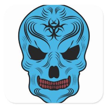 Halloween Themed Skull Square Sticker