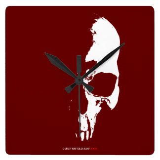 skull square wall clock