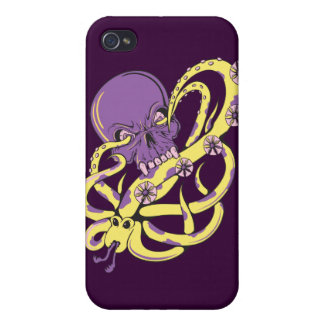 skull squid ack vector cartoon art iPhone 4/4S cover