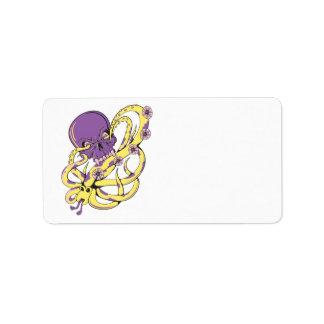 skull squid attack vector cartoon art custom address label