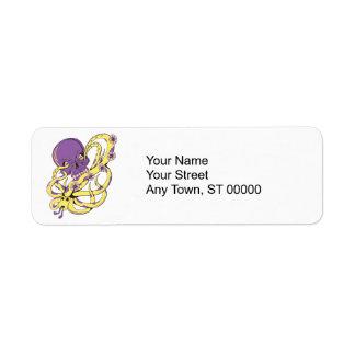 skull squid attack vector cartoon art custom return address labels