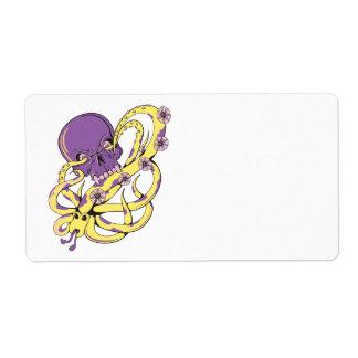 skull squid attack vector cartoon art custom shipping labels