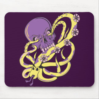 skull squid attack vector cartoon art mousepad
