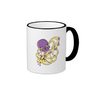 skull squid attack vector cartoon art mug