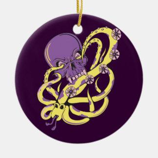 skull squid attack vector cartoon art christmas ornament