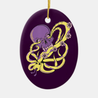 skull squid attack vector cartoon art christmas tree ornaments