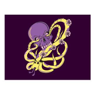 skull squid attack vector cartoon art post cards