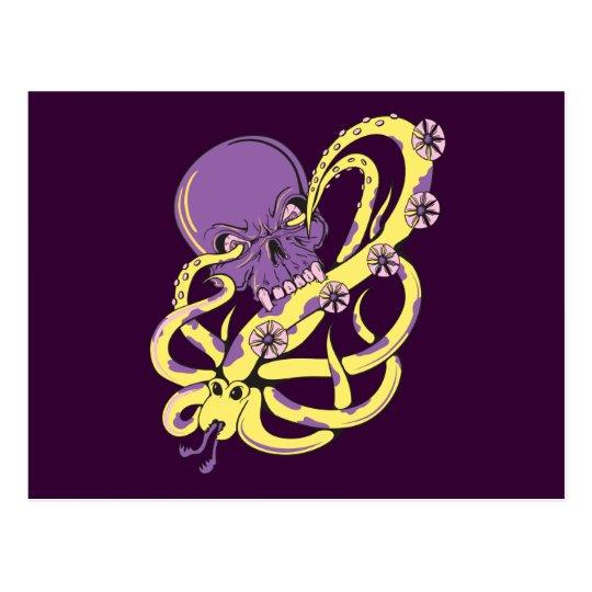 skull squid attack vector cartoon art postcard