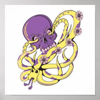 skull squid attack vector cartoon art poster
