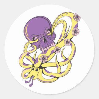 skull squid attack vector cartoon art round sticker