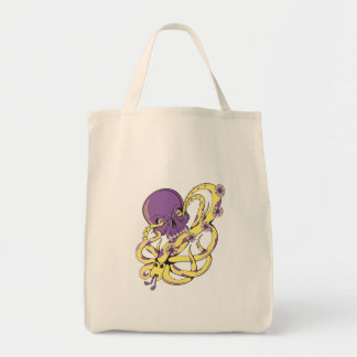 skull squid attack vector cartoon art tote bag