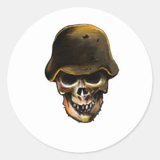 Skull Stalhelm Classic Round Sticker