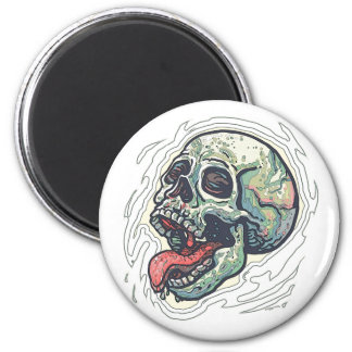 Skull Sticking Tongue Out 2 Inch Round Magnet